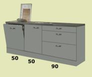 Keukenblok 190cm + 100cm incl vaatwasser en spoelbak RAI-7711