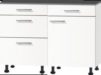 minikeuken 120cm wit mat met zwart aanrechtblad RAI-44011