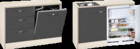 keukenblok 120cm op stelpoten met koelkast RAI-3366