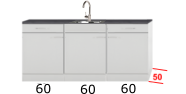 Keukenblok 180cm x 50cm diep met spoelbak RAO-4018