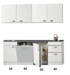 Kitchenette 200cm wit hoogglans met vaatwasser en koelkast en kookplaat RAI-448