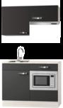 Kitchenette Vigo grijs-bruin 120cm met onderbouw magnetron en afzuigkap OPTI-0209