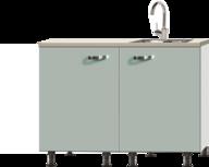 keukenblok greta groen 100cm met spoelbak RAI-0012