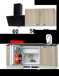kleine keukenblok 160cm houtnerf incl inbouw koelkast RAI-4919