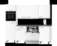 keukenblok 210cm wit mat met stelpoten en inbouw apparatuur RAI-3015