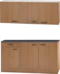 Keukenblok Beuken 150 x 50 diep zonder spoelbak met bovenkast RAI-450