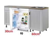 Design Keukenblok 150cm MDF met een la en inbouw koelkast RAI-8183