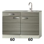 keukenblok 120 grijs-bruin incl de kraan RAI-332