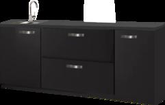 Kitchenette zwart 180cm met spoelbak RAI-4433
