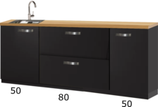 Kitchenette zwart 180cm met spoelbak en eiken werkblad RAI-4435