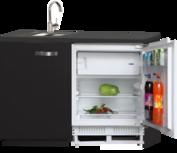 Keukenblok 120cm zwart met inbouwkoelkast RAI-2888