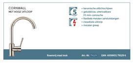 Lage druk keukenkraan CORNWALL ééngreepsmengkraan met hoge uitloop, RVS-look HRG-333