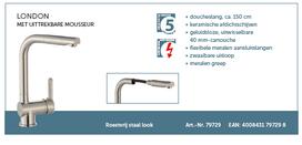 Lage druk keukenkraan LONDON ééngreepsmengkraan keuken, met uittrekbare sproeier, RVS-look HRG-336