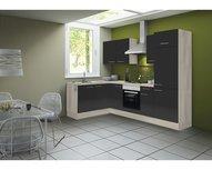 Hoek keuken Antraciet hoogglans 220 x 160 cm incl. koelkast, oven, e-kookplaat en afzuigkap RAI-41002