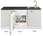 Keukenblok wit hoogglans 180 cm incl inbouw koelkast RAI-519