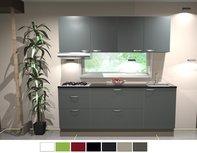 Keukenblok 210cm wit hoogglans incl gas-kookplaat, afzuigkap RAI-126