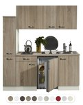 Keukenblok houtnerf 180cm met apothekerskast, kookplaat en koelkast RAI-3302