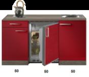 Kitchenette Rood Hoogglans met koelkast en kookplaat 150cm HRG-400