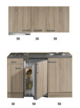 kitchenette 130 houtnerf incl koelkast en e-kookplaat en afzuigkap RAI-3322