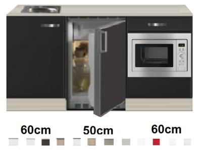 Keukenblok 170 Antraciet incl rvs spoelbak en koelkast en magnetron RAI-51