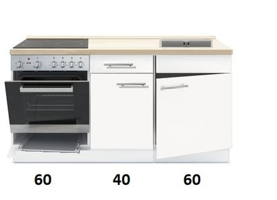 3-in-1 Keukenblok 140 x 60 cm incl. oven + kookplaat + spoelbak RAI-845