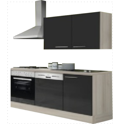 Kitchenette 160 antraciet hoogglans incl all apparatuur RAI-052