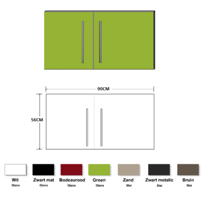 Metalen wandkast groen 90cm RAI-835