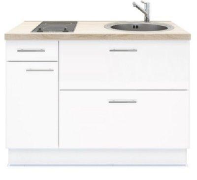 Keukenblok 120 wit met Elektrische kookplaat en rvs spoelbak RAI-3592
