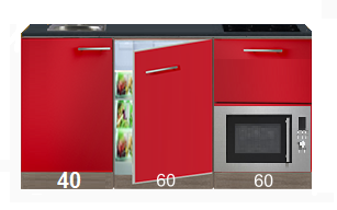 kitchenette 160cm rood incl 4-pit inductie kookplaat, inbouw koelkast en inbouw combi magnetron RAI-4499