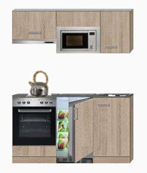 keukenblok 160 met inbouw magnetron, kookplaat en inbouw oven RAI-344