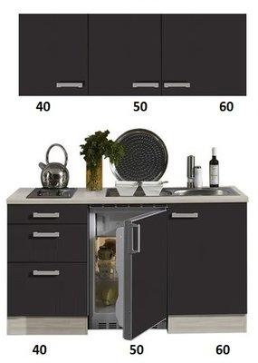 Kitchenette antraciet 150cm met drie laden RAI-3001