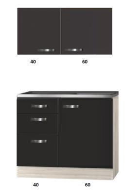 keukenblok 100cm antraciet met drie laden RAI-2201