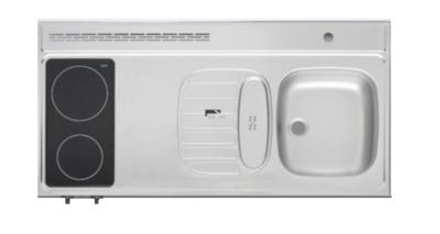 RVS aanrechtblad opleg 120cm x 60cm met 2-pit Keramische kookplaat RAI-2556