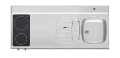 RVS aanrechtblad opleg 150cm x 60cm met 2-pit Keramische kookplaat RAI-253