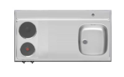 RVS aanrechtblad opleg 100cm x 60cm met 2-pit Elektrische kookplaat RAI-2550