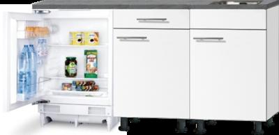 Keukenblok 180cm Wit mat met inbouw koelkast en rvs spoelbak RAI-0202