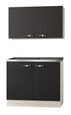 Keukenblok Faro Antraciet  100cm met bovenkast OPTI-0103