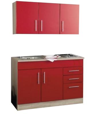 Kitchenette 120cm incl. rvs spoelbak + electrische kookplaat + bovenkasten