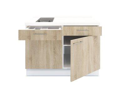 Keukenblok 120 wit met Elektrische kookplaat en rvs spoelbak RAI-3591