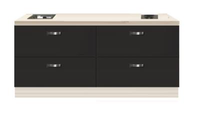 Kitchenette 200cm antraciet met een ladenkast RAI-4339