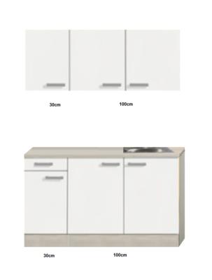 Keukenblok 130cm Genf gebroken wit mat RAI-20110