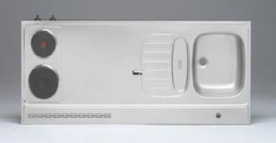 RVS aanrechtblad opleg 150cm x 60cm met 2-pit Elektrische kookplaat RAI-2590