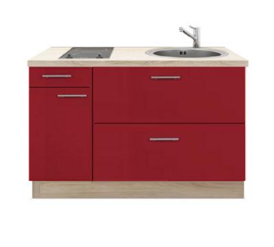 Keukenblok 130 rood hoogglans met kramisch kookplaat en rvs spoelbak