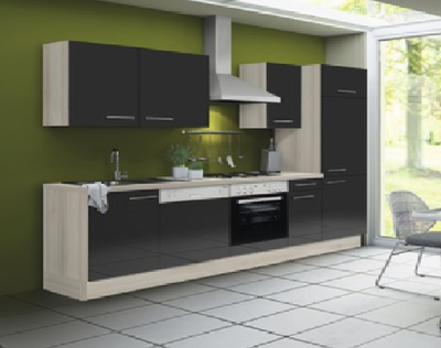 Keuken 280 cm antraciet hoogglans incl vaatwasser, keramisch kookplaat met oven en koelkast RAI-51100