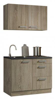 Minikeuken 100cm houtnerf met wandkasten en e-kookplaat RAI-33012