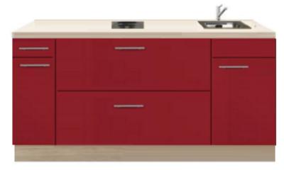 Kitchenette 180cm Rood Hoogglans met een ladenkast RAI-1179