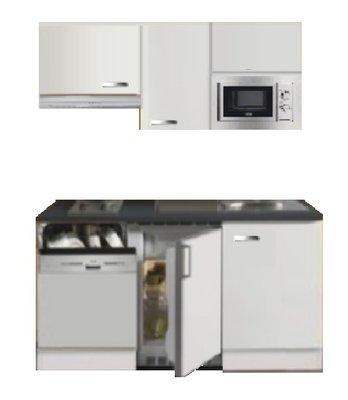 Kitchenette 160cm wit hoogglans met vaatwasser en koelkast en kookplaat en magnetron en afzuigkap RAI-4332