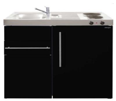 MK 90 Zwart Metalic mat met koelkast en een la RAI-9516
