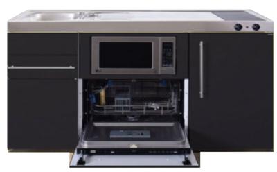 MPGSM 150 Zwart mat met vaatwasser, koelkast en magnetron RAI-925