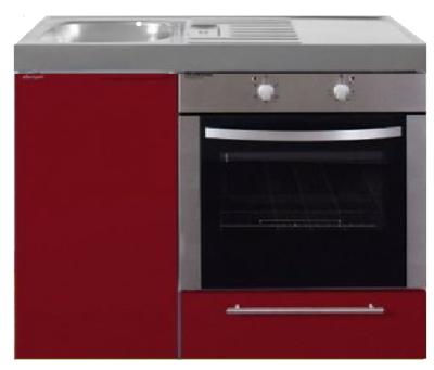 MKB 100 Bordeauxrood met  oven RAI-952